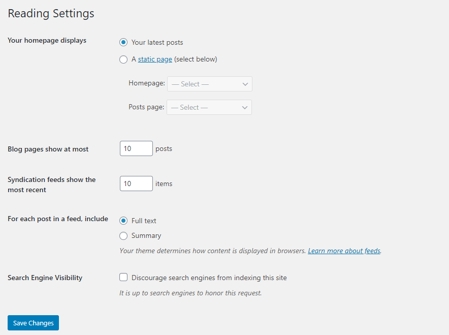 blog reading settings