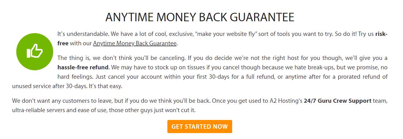 A2 Hosting money-back guarantee