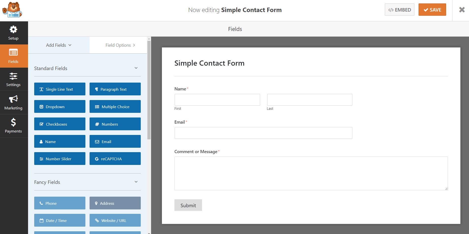 WordPress blog contact form