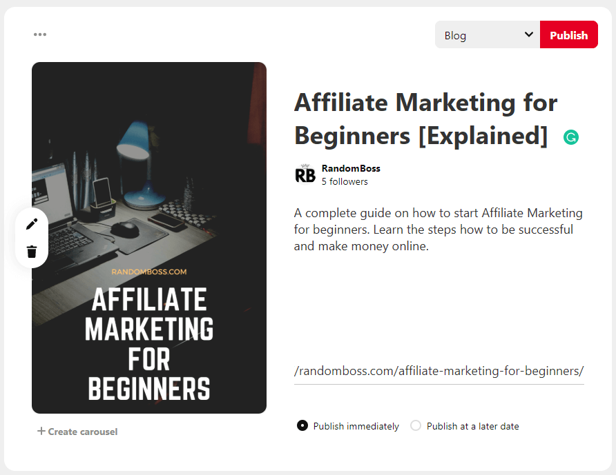 pinterest publish affiliate marketing